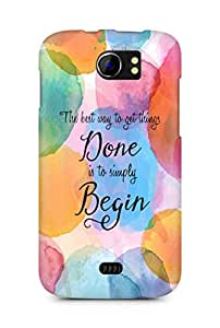 AMEZ the best way to get things done is to begin Back Cover For Micromax Canvas 2 A110