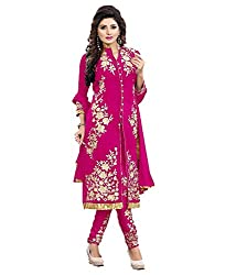 My online Shoppy Women's Georgette Semi Stitched Dress Material (My online Shoppy_109_Pink_Free Size)
