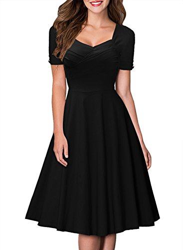 Miusol Womens Short Sleeve Hepburn Style Retro Swing Bridesmaid Dress
