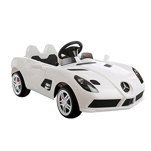 Aosom-12V-Mercedes-Benz-SLR-Convertible-Kids-Electric-Ride-On-Car-with-MP3-and-Remote-Control-White