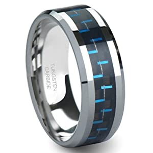 BLUE & BLACK Carbon Fiber Inlay 8MM Men's Tungsten Carbide Ring Sz 13.0