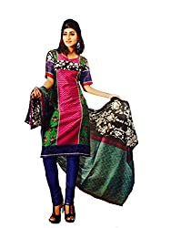 Threads Women's Cotton Unstitched Dress Material (TC113_Purple_Free Size)