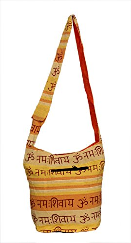 Cotton Canvas Handcrafted OM NAMAH SHIVAY Stripes Design Indian Yoga Sling Cross Body Bag