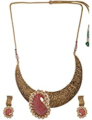 Arihant Jewellers Red Gold Plated Choker Necklace Set For Women (NK-38)
