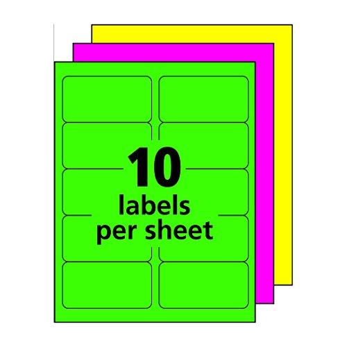 Avery high visibility neon shipping labels for laser for Colored mailing labels