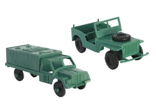 Military Transport Set for Plastic Army Men: WWII Jeep and 2 Covered Trucks - 1