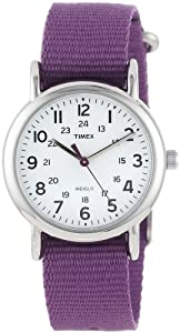 "Timex Women's T2P2269J ""Weekender"" Purple Slip-Thru Nylon Strap Casual Watch"