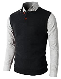H2H Mens Knitted Sweater Vest With Two Button On The Neckline