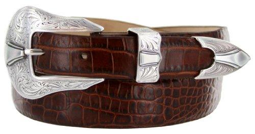 Silver Colorado Italian Calfskin Leather Designer Dress Belts for Men(40, Alligator Brown)