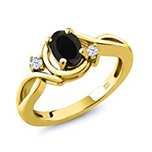 buy 0.88 Ct Oval Black Onyx White Topaz 14K Yellow Gold Ring