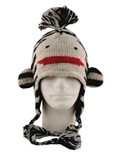 Adult Size Black & White Sock Monkey 100% Wool Pilot Ski Animal Cap / Hat With Fleece Lined