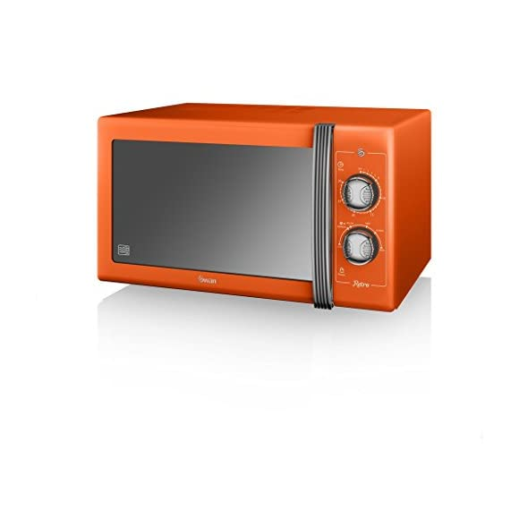 SWAN Retro Manual Microwave, 25 Litre, 900 W, Orange