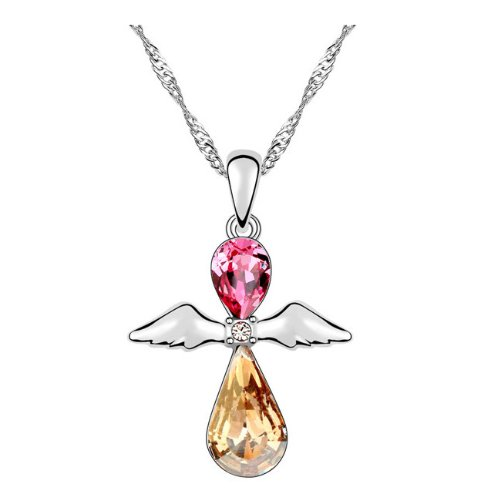 Silver Swarovski Elements Crystal Diamond Accent Teardrop Water Drop Guardian Angel Wings Pendant Chain Necklace For Women Teenage Girls Kids Children, With A Gift Box, Ideal Gift For Birthdays / Christmas / Wedding---Rose Red ,Model: X16460