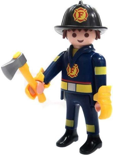 Playmobil Fi?ures Series 4 LOOSE Mini Figure Firefighter by Series 1 Blue