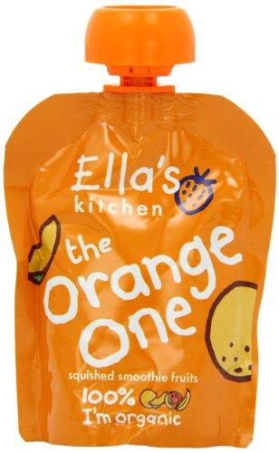 Ella's Kitchen Organic Orange One Fruit Smoothie 5 x 90 g (Pack of 6, Total 30 Pouches)
