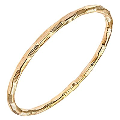 Forever Lite 9ct Yellow Gold, Diamond Cut, Textured Twist Bangle of 6.7cm Diameter