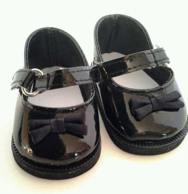 Black Patent Mary Janes with Bow Fits American Girl Dolls