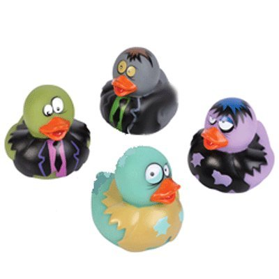 Dozen Vinyl Assorted Zombie Design Rubber Ducky Duckies Toy - 2""