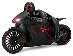 Sunshine Remote Control Motorcycle 2.4 GHz, Built in Gyroscope, LED Headlights (Black)