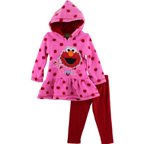"Sesame Street Elmo ""Smile"" Pink Fleece Hoodie & Pants Set 2T-4T (3T) front-976161"