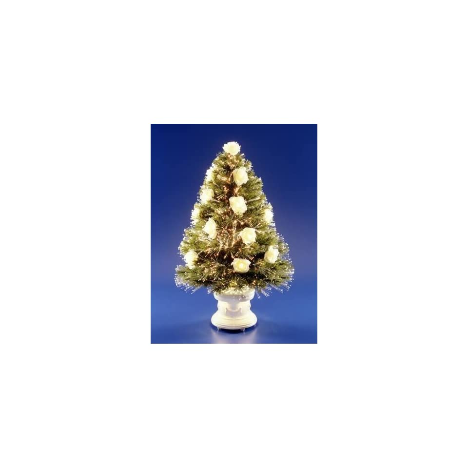 National Tree Company SZRS7 103 36 36 Inch Fiber Optic White Rose Tree with Antique White Column Base   Clear Twnkle Wheel