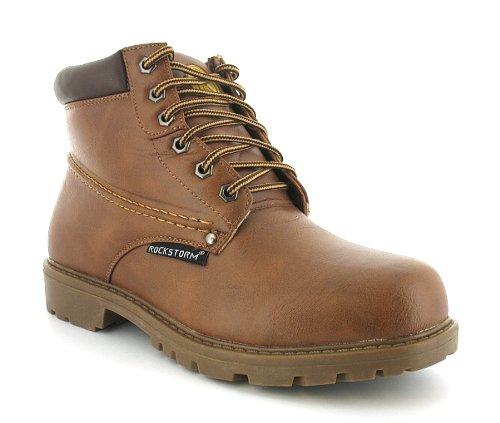 Mens Tan Lace Up Midcut Boots Wider Fitting - Tan - UK 12