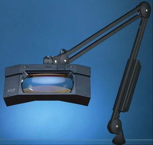 """Luxo Magnifier Wave+Plus Esd 45"""" Arm Clamp-On Base Black"""