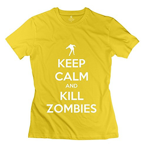 Glycwh Women'S Kc Kill Zombies T-Shirt Yellow Us Size M Short Sleeve