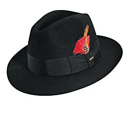Scala Men\'s Wool Felt Fedora Hat, Black, XX-Large