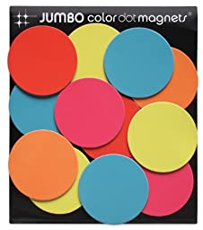 Three By Three Seattle Color Dot Magnets, Jumbo (Pack of 12)