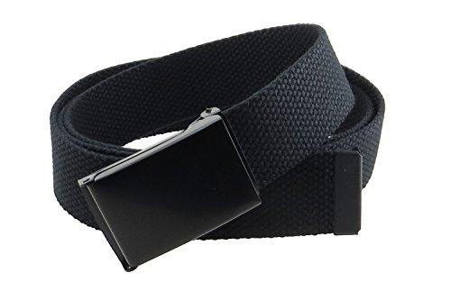 """Canvas Web Belt Flip-Top Black Buckle/Tip Solid Color 50"""" Long (Black)"""