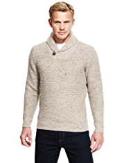 Blue Harbour Heritage Lambswool Blend Shawl Collar Tuck Stitch Jumper