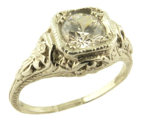Antique Style Sterling Silver Filigree .63ct Cubic Zirconia Ring (sz 8)