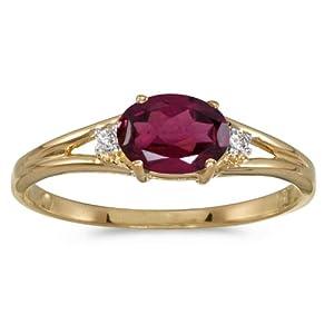 14k Yellow Gold Oval Rhodolite Garnet And Diamond Ring (Size 6.5)