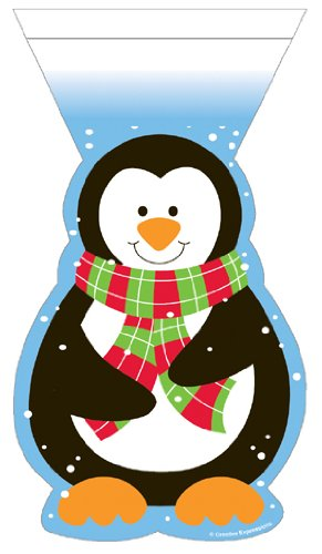 Penguin Christmas Cello Bags With Zipper Closure - 12/Pack (9in.x5in.)