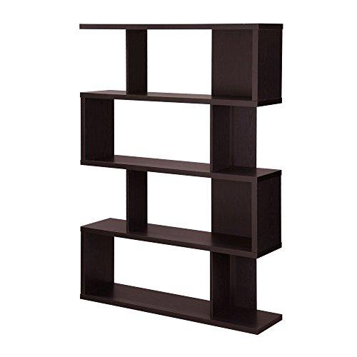 オープンシェルフ 本棚 書棚 ラック 収納 ディスプレイラック S型 木製 飾り棚 パーテーション ダークブラウン
