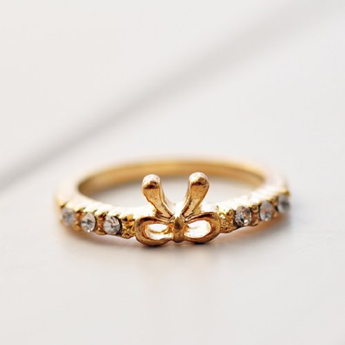 Beautiful girl fashion Simple diamante bow ring