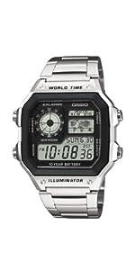 Casio AE-1200WHD-1AVEF - Reloj digital de cuarzo para hombre con correa de acero inoxidable, color plateado de Casio