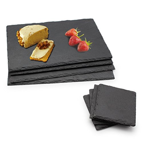 megashef-8-piece-set-of-coasters-and-placemats-handmade-natural-slate-coffee-tea-table-mug-cup-plate
