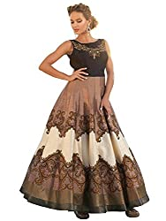 VH Fashion Women's New Brown Colour Floor Touch Semi Stitched Designer Printed Gown
