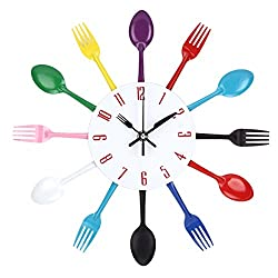UNIQUEBELLA Cutlery Wall Clock, Fork & Spoon Kitchen Decoration Kitchen Home, 33 x 33 cm Multi-color