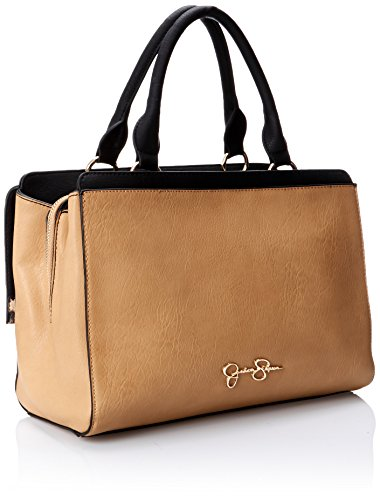 Jessica Simpson Sidney Satchel Top Handle Bag, Neutral/Black/Camel Leopard, One Size