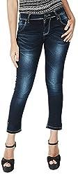INTEGRITI Women's Slim Fit Jeans (FLY-LANK-101 EZYFT DRKBL_28, Blue, 28)