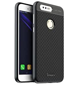 Case Creation TM Imported Design Hybrid PC + TPU material Back Cover Safe Case for Huawei Honor 8 / Huawei Honor8 / The new Honor 8 / Huawei Honor 8 4GB Android 6.0 4G LTE 5.2 inch (Color:- Dark Pitch Black )