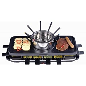 Wimmeley RAFO801 3-in-1 8-Person Raclette Party Grill with Fondue Pot
