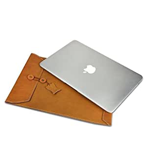 Apple Macbook Air Pro Genuine Leather Envelop Carrying Bag Waterproof 11Inch 13 Inch 15Inch Laptop Note Book Case Brown (13Inch, vertical brown)