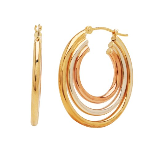 Bonded Sterling Silver and 14k Tri-Color Gold Hoop Earrings