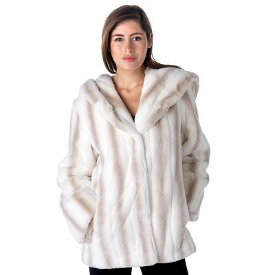 Buy Pamela McCoy Hooded Shawl Collar White Mink Tissavel Faux Fur Coat