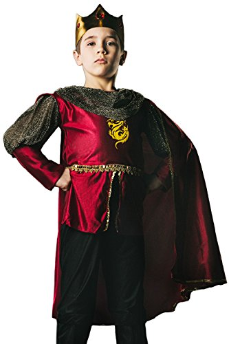 [Kids Boys King Arthur Halloween Costume Medieval Prince Dress Up & Role Play (6-8 years, red, black,] (Halloween Costumes Ideas For Teen Boys)