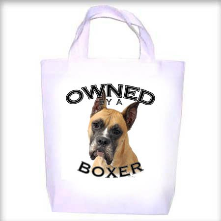 Boxer CROPPED Owned Shopping - Dog Toy - Tote Bag